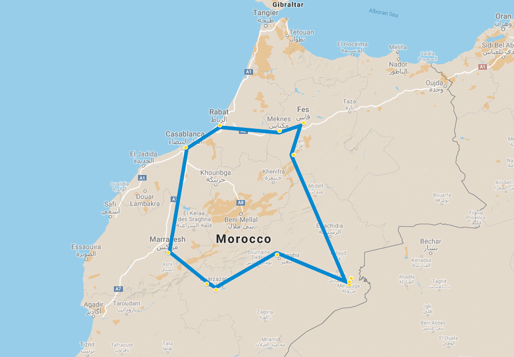 10 day tour Imperial cities of Morocco Desert from Casablanca map