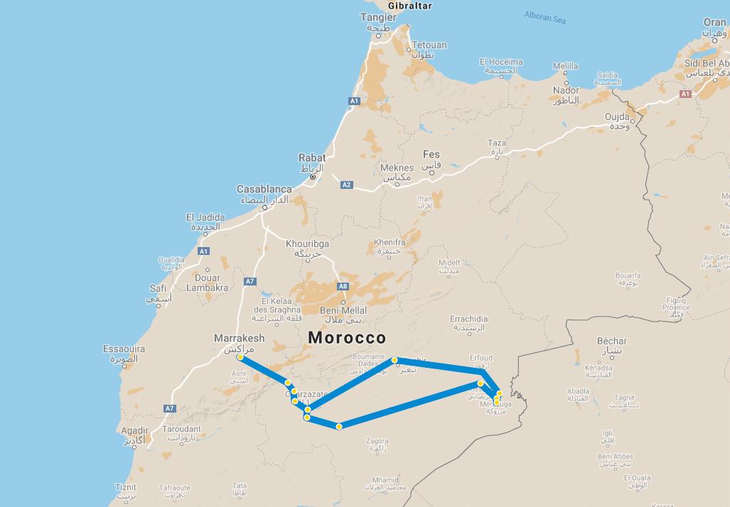 5 day tour Desert Marrakech Erg Chebbi map