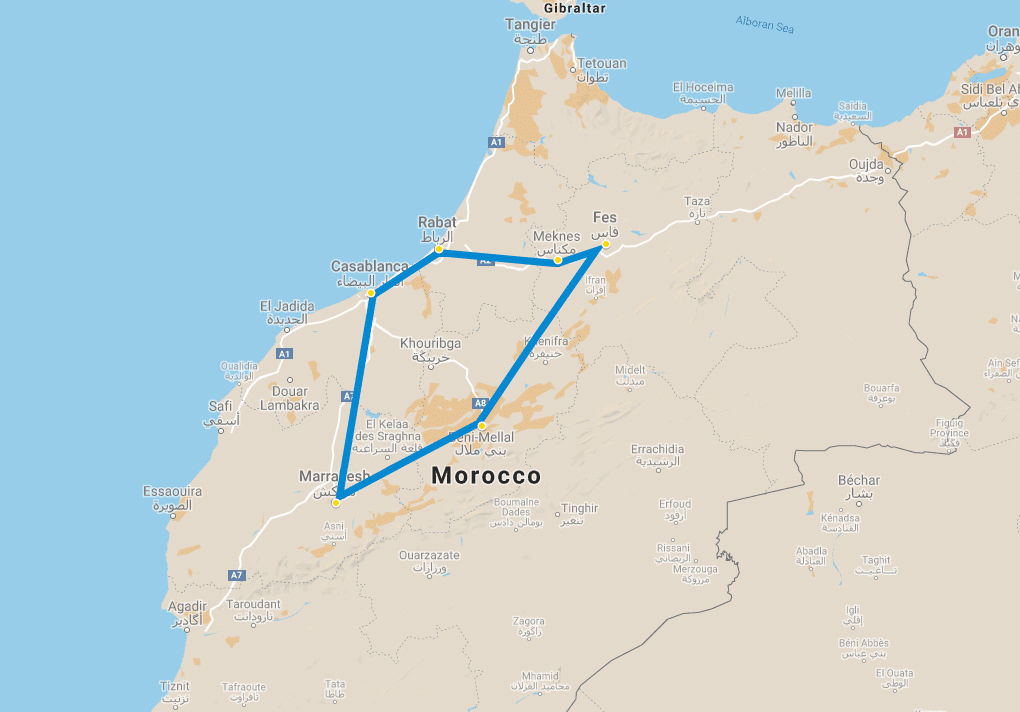 8 day tour Imperial cities of Morocco from Casablanca map