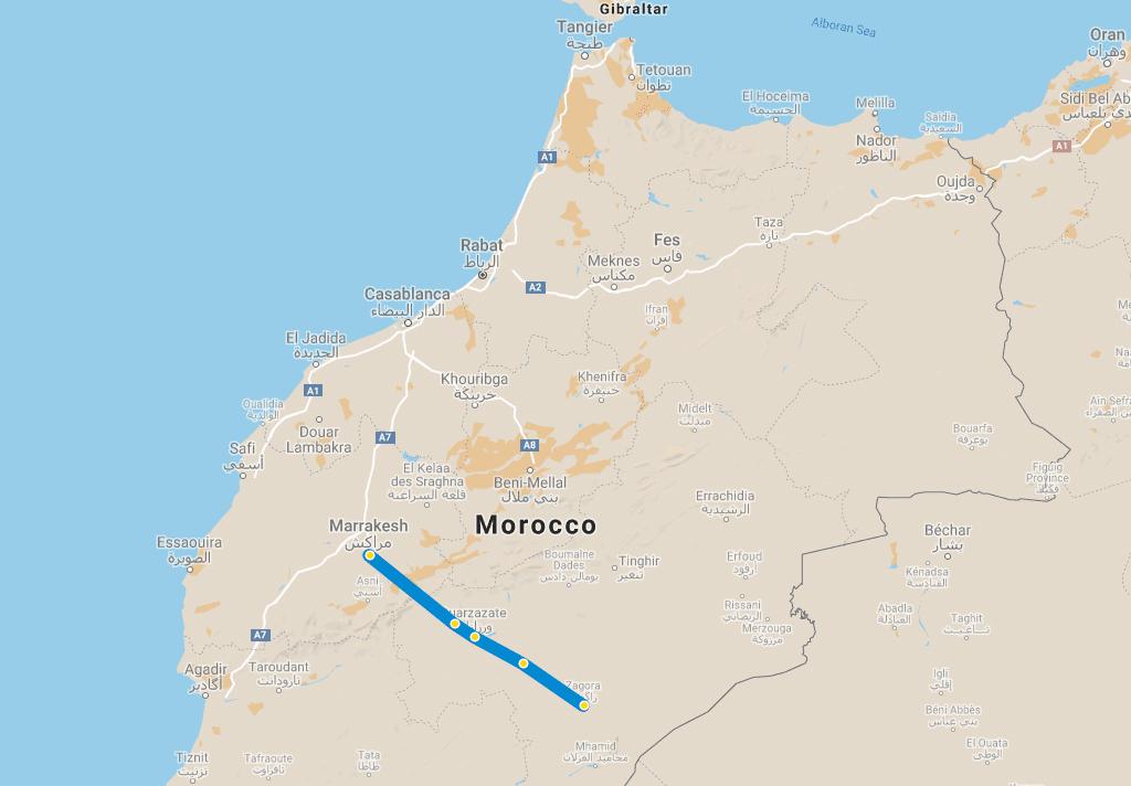 2 day tour Desert Marrakech Zagora map