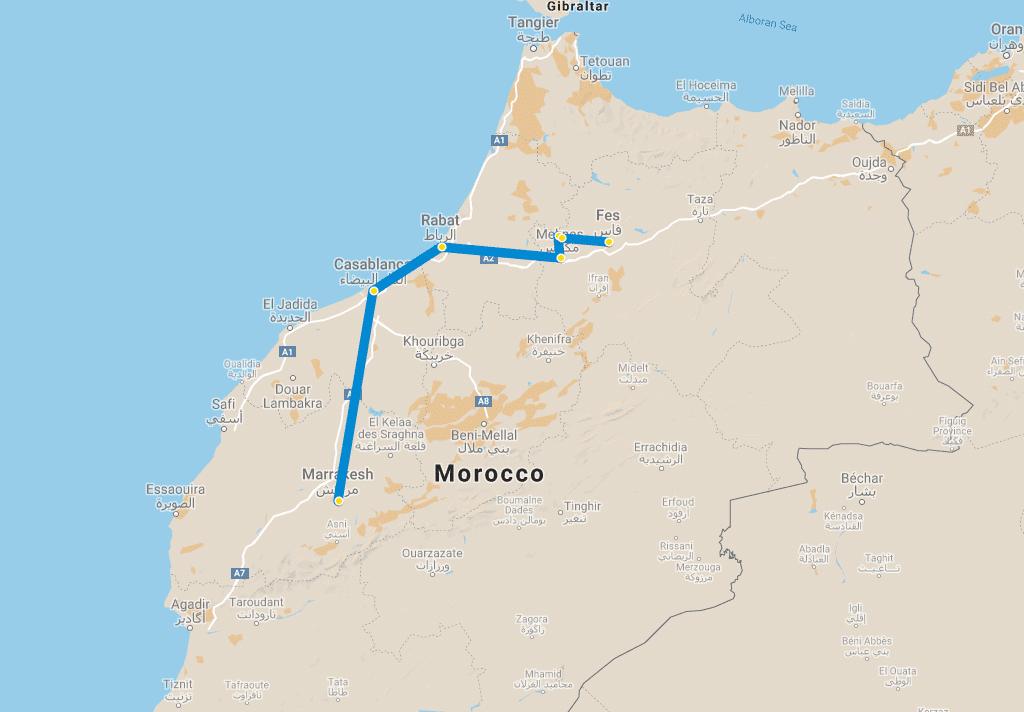 3 day tour Marrakech to Fes via Meknes map