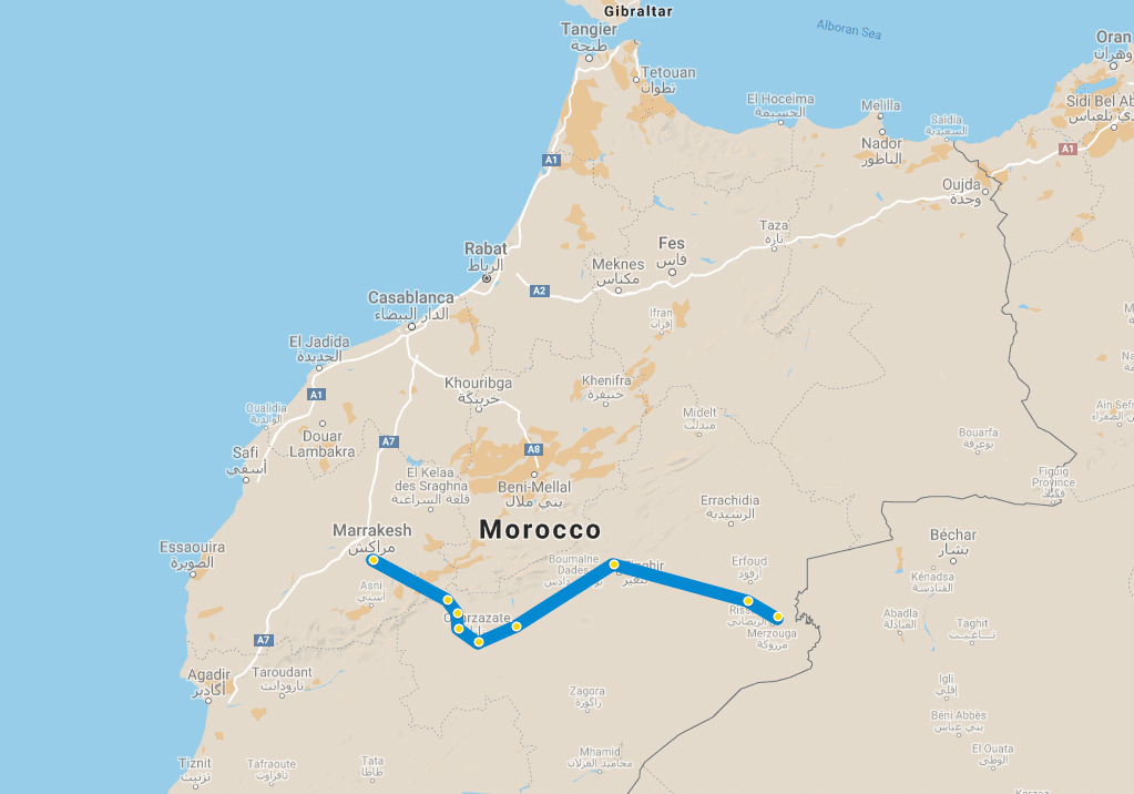4 day tour Desert Marrakech Erg Chebbi map