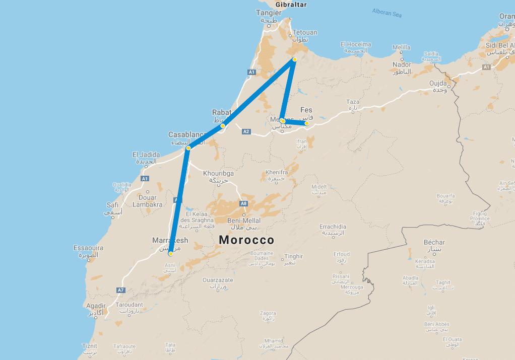 4 day tour Marrakech to Fes via Chefchaouen map