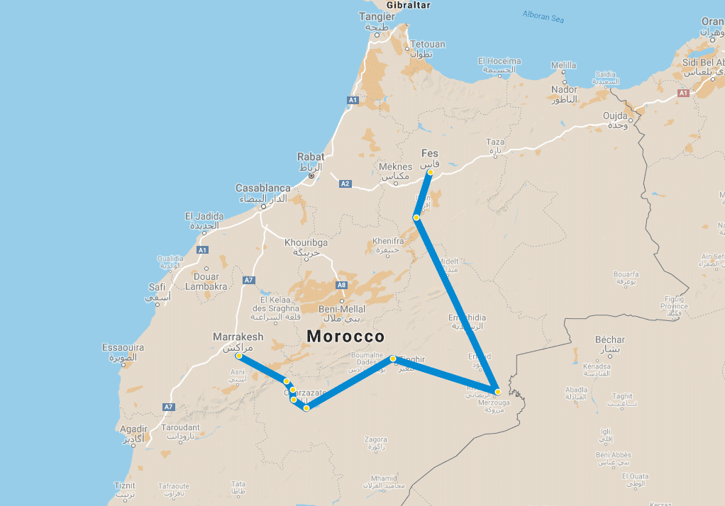 4 day tour Marrakech to Fes via Desert map