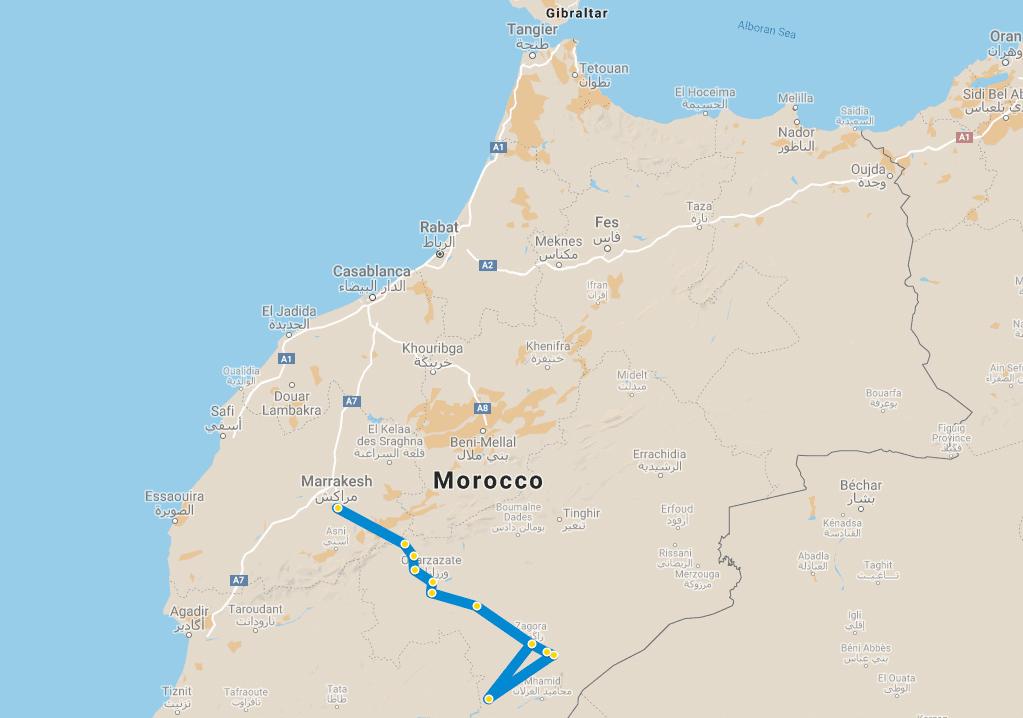 5 day tour Desert Marrakech Chegaga map