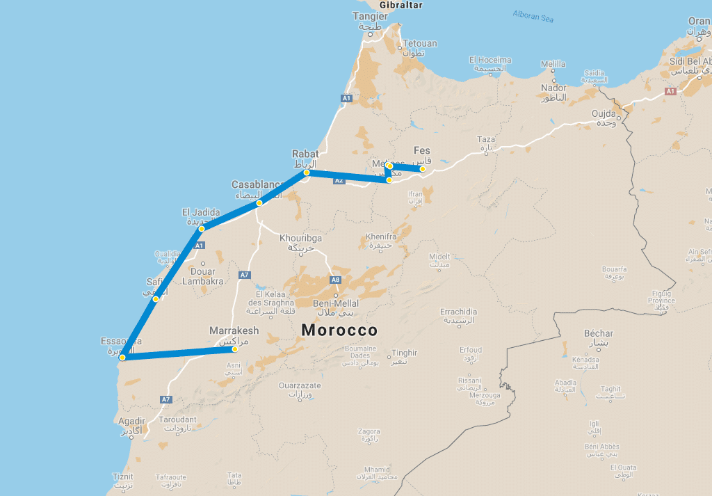 5 day tour Marrakech to Fes via Essaouira map