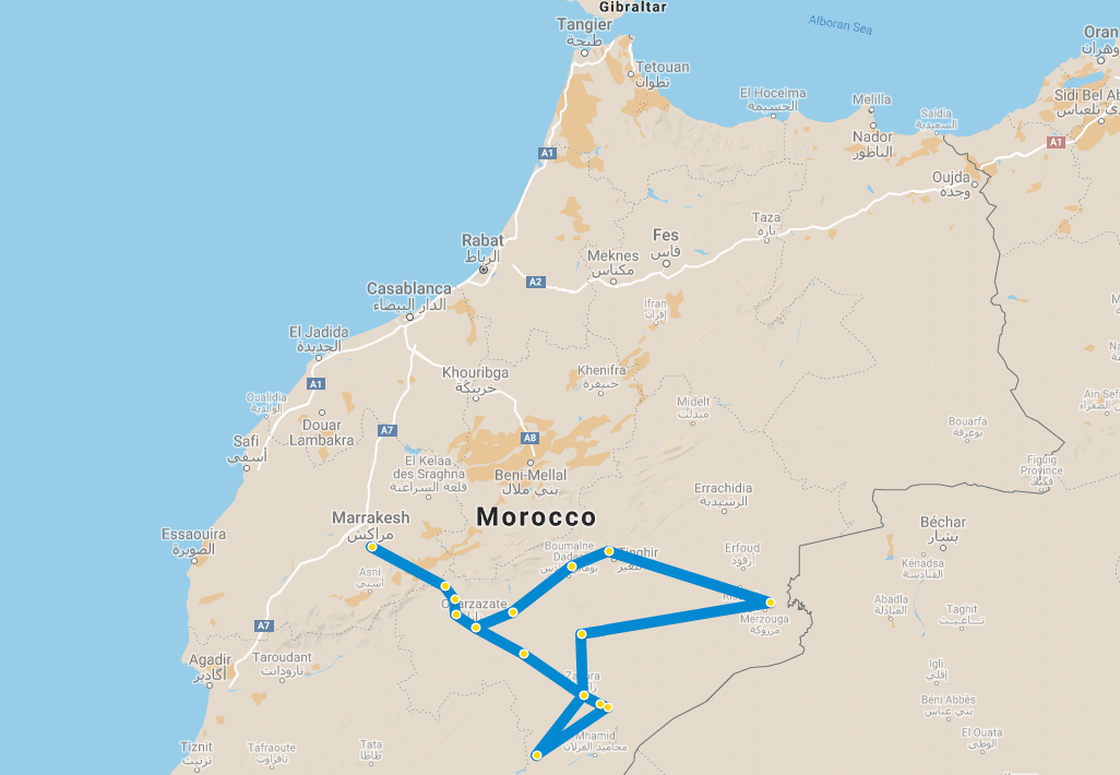 7 day tour Desert Marrakech Chegaga Chebbi map