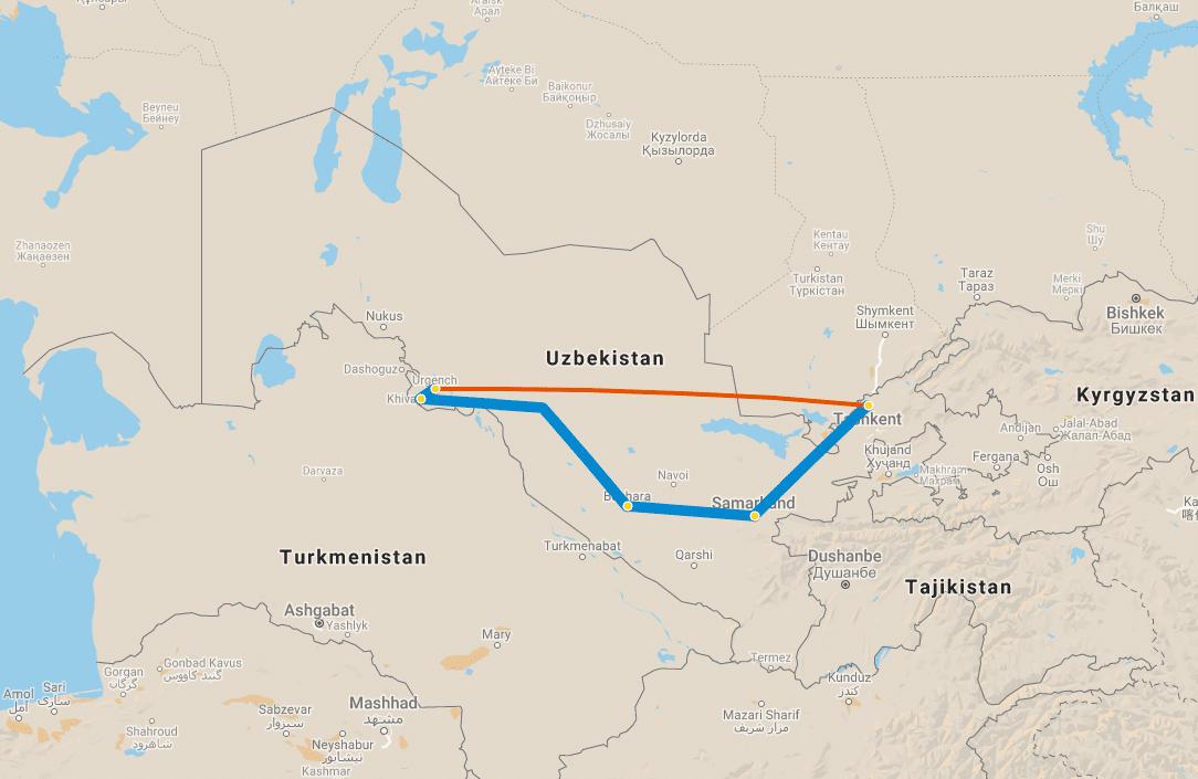 8 day tour Uzbekistan Classic map
