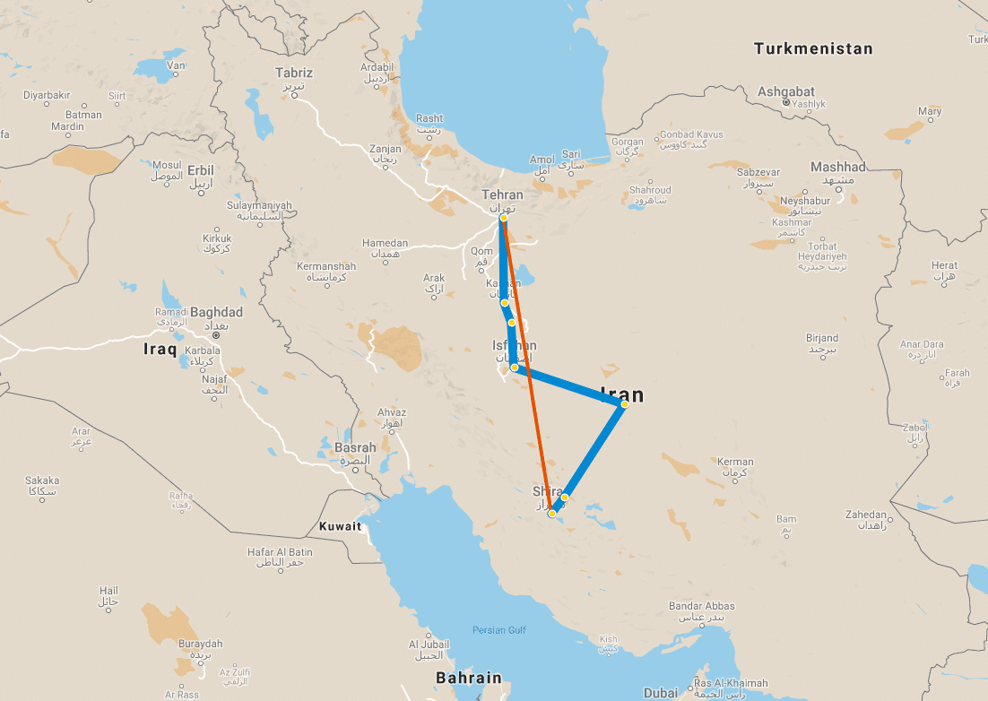 9 day tour Iran Classic map