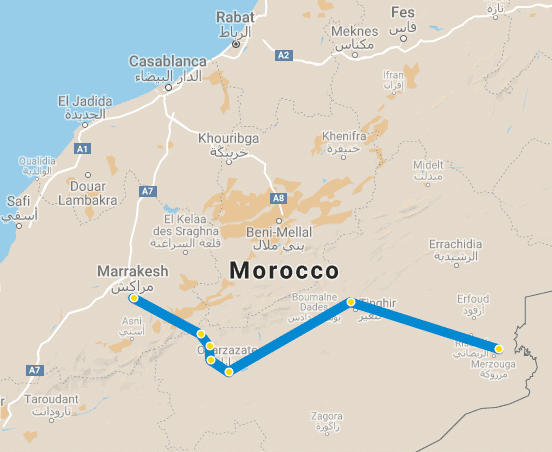 map desert trip in morocco