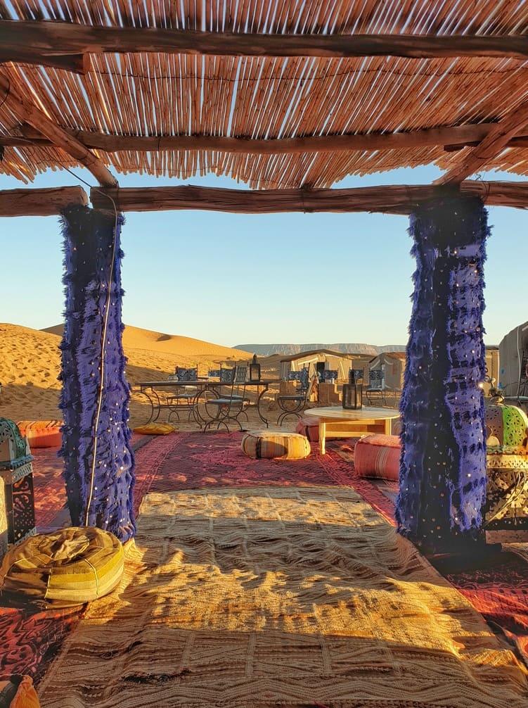 Desert camp in Tinfou dunes that makes part of a 2-day Zagora desert tour in Morocco